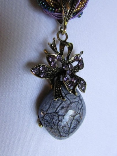 Other Women Strands Fashion Necklace Charcoal Glass Pendant Flower Rhinestones 10