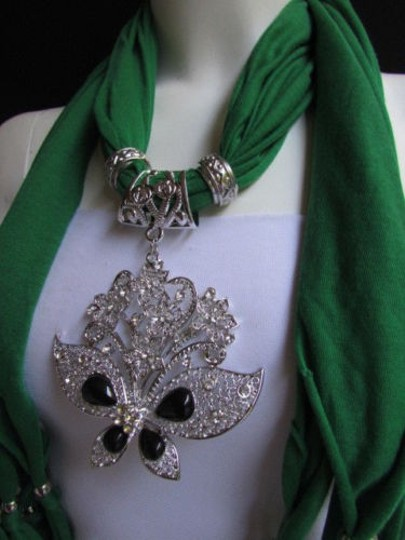 Other Women Green Soft Fabric Fashion Scarf Necklace Silver Flowers Butterfly Pendant