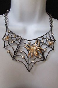 Other Women Pewter Wide Necklace Metal Gold Spiders Earrings Set Rhinestones