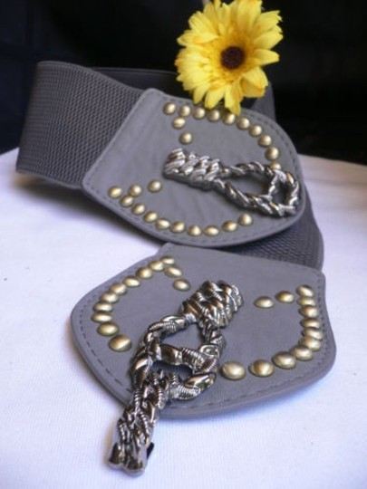 Other Women Elastic Gray Faux Leather Fashion Belt Big Metal Buckle 28-36 -
