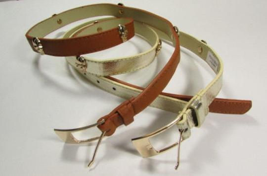 Other Women Faux Leather Fashion Belt Gold Metal Skulls 31-37 Gold Brown