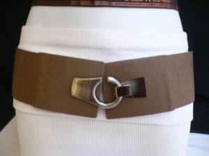 Women Hip Waist Elastic Light Brown Wide Fashion Belt Hook 30-35 Sm