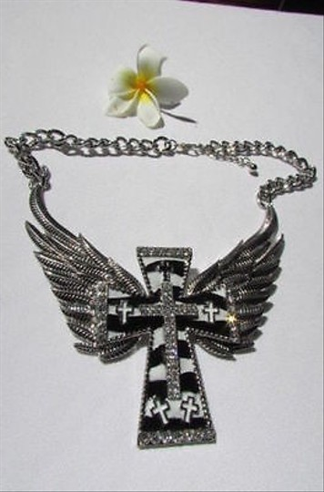 Other Women Silver Necklace Big Cross Eagle Angle Wings Zebra Print