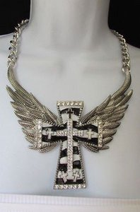 Other Women Silver Metal Fashion Necklace Big Cross Eagle Angle Wings Zebra Print
