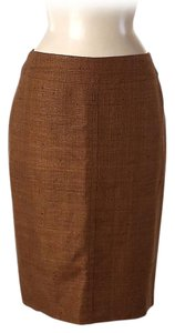Akris Tulle Silk Wool Pencil Skirt Copper