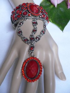 Other Women Fashion Bracelet Ring Red Flower Rhinestones Metal Cuff Slave Chain