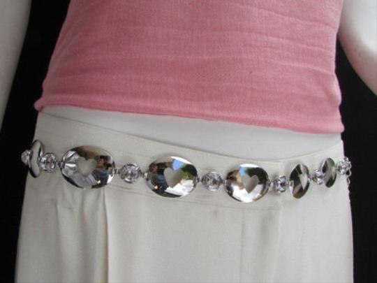 Other Women Hip Waist Silver Beads Metal Chains Oval Hearts Fashion Belt 30-44 S-xl