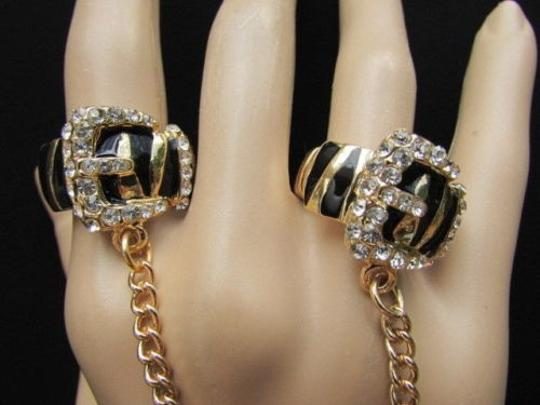 Other Women Gold Black Metal Leopard Belt Trendy Fashion Two Fingers Ring Elastic