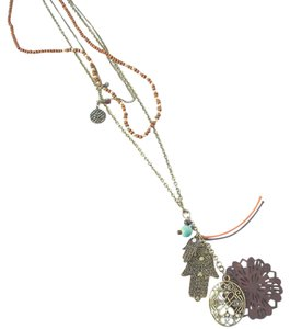 Layered Bohemian Hamsa + Mandala Necklace