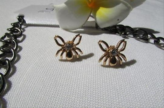 Other Women Metal Pewter Necklace Gold Spider Chunky Chains Earrings Set Tarantula
