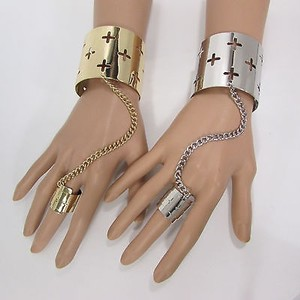 Other Women Fashion Crosses Wide Cuff Bracelet Hand Chain Slave Ring Silver Gold