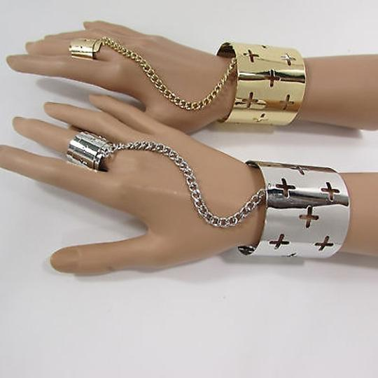 Other Women Crosses Wide Cuff Bracelet Hand Chain Slave Ring Silver OR Gold