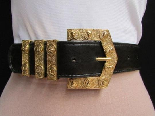 Other Women Black Faux Leather Fashion Belt Big Gold Lion Head Buckle 28-32