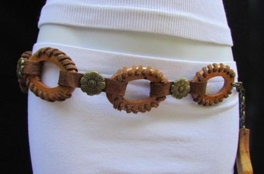 Other Women Brown Big Rings Wood Fashion Belt Antique Gold Flowers 26-38