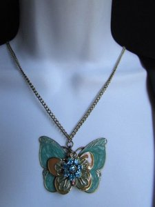 Women Long Gold Fashion Necklace Big Blue Butterfly Flower Pendant 17 Drop