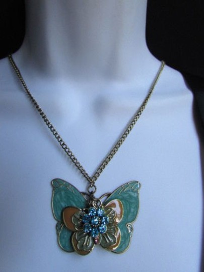 Other Women Long Gold Fashion Necklace Big Blue Butterfly Flower Pendant 17 Drop