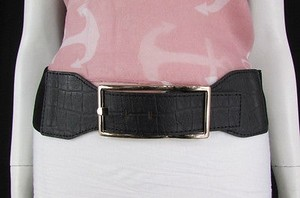 Other Women Black Elastic Fashion Belt Gold Metal Buckle Plus