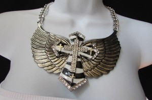 Other Women Silver Metal Roker Big Cross Necklace Big Eagle Wings Zebra Stripes