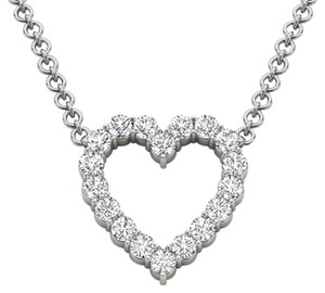 Elizabeth Jewelry 14Kt White Gold 0.50 Ct Diamond Heart Pendant