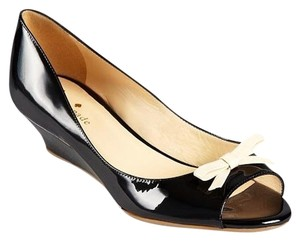 Kate Spade Leather Patent Bow Italy Black Wedges