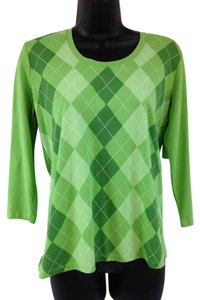 Talbots Argyle T Shirt Green