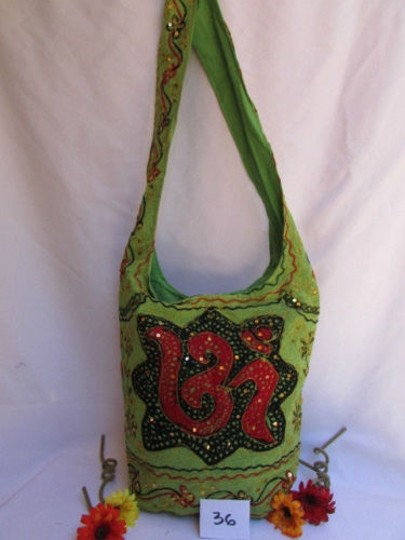 Other Women Fabric Fashion Messenger Hand India Sign Green Orange Brown Cross Body Bag