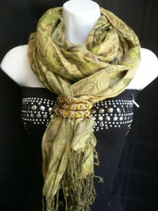 Women Pashmina Fashion Unique Green Scarf Dressy Elegant Warm Cotton Casual
