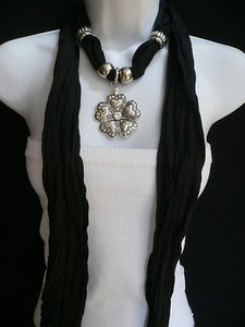 Other Women Black Fabric Scarf Flower Leafs Pendant Silver Mini Hearts