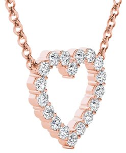 Elizabeth Jewelry 14Kt Rose Gold 0.50 Ct Diamond Heart Pendant