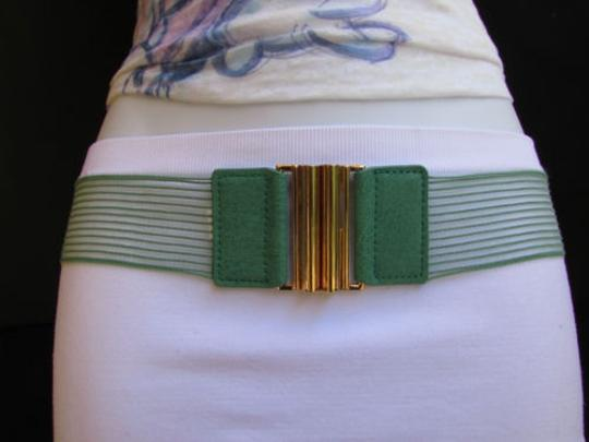 Other Women Hip Waist Elastic Green Fabric Fashion Belt Gold Buckle 27-40 S-xl