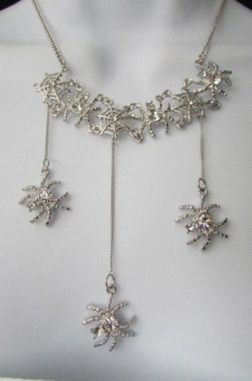 Other Women Silver Necklace Earring Set Metal Spiders Rhinestones