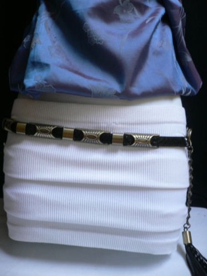 Other Women Hip Waist Black Faux Leather Gold Metal Moroccan Thin Belt 34-39 Ml
