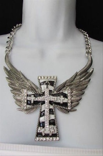 Other Women Silver Metal Rocker Fashion Necklace Black White Cross Angle Eagle Wings