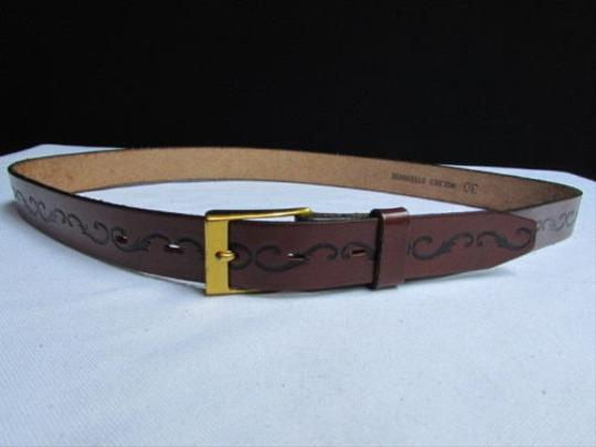 Other Women Brown Leather Classic Fashion Thin Belt Gold Buckle 27-31