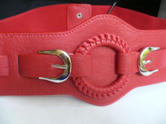 Other Women Elastic Hip Waist Red Western Fashion Belt Ring Silver Buckles S-m-l