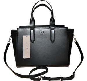 Halston Crossbody Hard Box Satchel in BLACK
