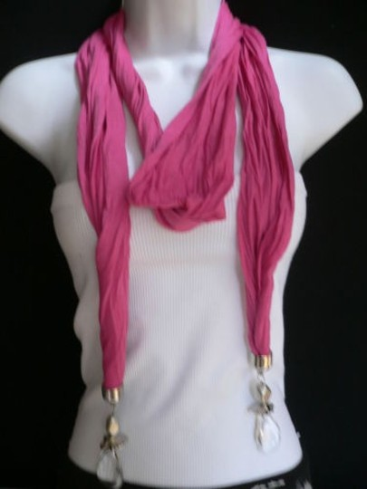 Other Women Hot Pink Trendy Fashion Soft Scarf Necklace Two Clear Pendants Ends