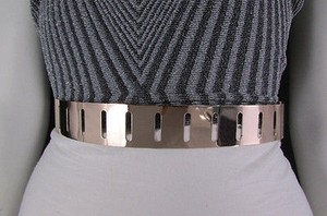 Women Black Elastic Fashion Belt Gold Metal Plate Stripes Holes 25-32