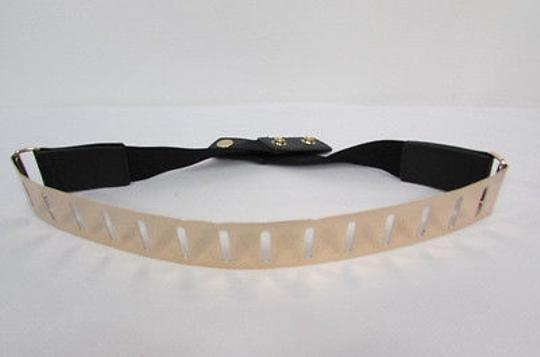 Other Women Black Elastic Fashion Belt Gold Metal Plate Stripes Holes