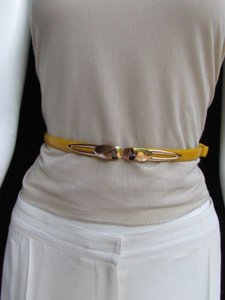 Women High Waist Hip Yellow Ultra Thin Fashion Belt Gold Buckle 22-40