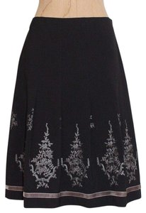 Ann Taylor Pleated A-line Embroidered Church Skirt BLACK