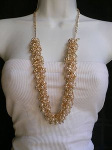 Women Gold Trendy Long Necklace Rounds Rings White Plasic Pearls