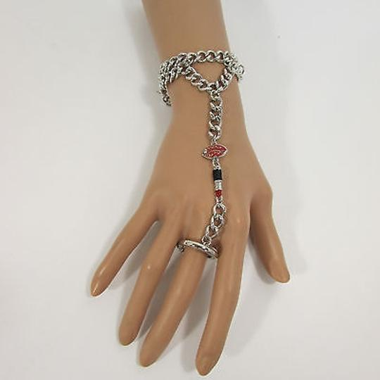 Other Women Lips Stick Bracelet Hand Chain Slave Ring Black - Silver OR Gold