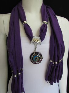 Women Purple Soft Fabric Fashion Scarf Long Necklace Round Glass Swirl Pendant