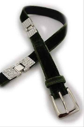 Other Women Silver Rhinestone Faux Suede Green Moroccan Fashion Belt 29-33