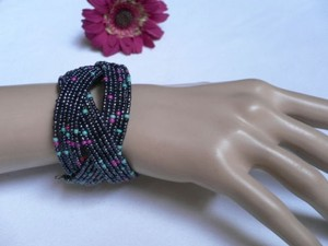Women Multi Colored Beads Metal Cuff Wide Disco Trendy Fashion Bracelet