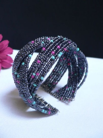 Other Women Multi Colored Beads Metal Cuff Wide Disco Trendy Fashion Bracelet