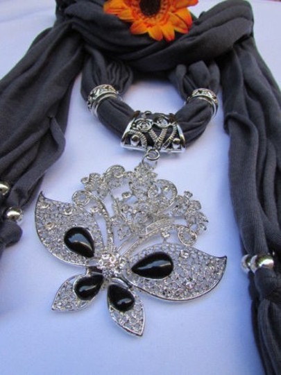 Other Women Dark Gray Fabric Fashion Scarf Necklace Silver Flowers Butterfly Pendant