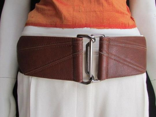 Other Women Waist Hip Brown Cut Out Wide Elastic Fashion Belt Pewter Buckle