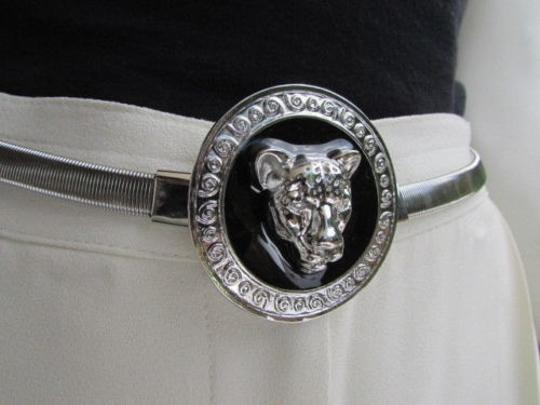 Other Women Hip Waist Silver Black Elastic Metal Tiger Thin Fashion Belt 25-40 Xs-xl